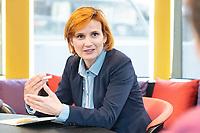 """18 MAY 2020, BERLIN/GERMANY:<br /> Katja Kipping, MdB, Die Linke, Parteivorsitzende Die Linke, waehrend dem Feierabendtalk """"Ueberstunde"""" auf dem Redaktionsschiff ThePioneer ONE auf der Spree<br /> IMAGE: 20200518-01-011<br /> KEYWORDS: Überstunde, Media Pioneer"""