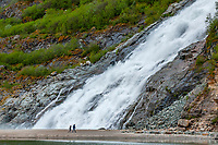 Nugget Falls flowing into Mendenhall Lake (next to Mendenhall Glacier), Juneau, southeast Alaska USA