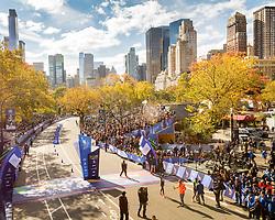 NYC Marathon, Wilson Kipsang celebrates his victory at the finish line