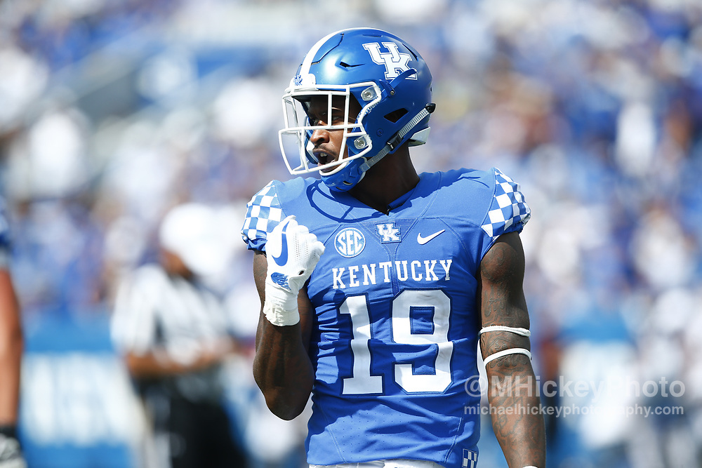 LEXINGTON, KY - SEPTEMBER 09: Kayaune Ross #19 of the Kentucky Wildcats is seen during the game against the Eastern Kentucky Colonels at Kroger Field on September 9, 2017 in Lexington, Kentucky. (Photo by Michael Hickey/Getty Images) *** Local Caption *** Kayaune Ross