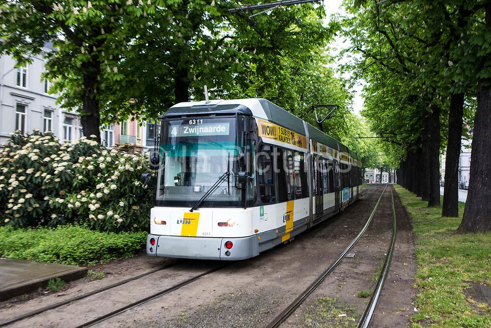 A Belgium tram travels through a green park on the Ghent tram network run by De Lijn Ghent city, Belgium.