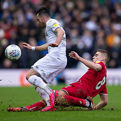 Markus Henriksen of Bristol City tackles Jack Harrison of Leeds United - Mandatory by-line: Daniel Chesterton/JMP - 15/02/2020 - FOOTBALL - Elland Road - Leeds, England - Leeds United v Bristol City - Sky Bet Championship
