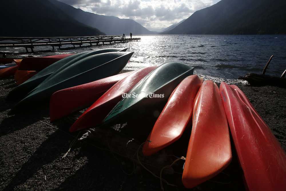 Canoes can be rented on Lake Crescent in the Olympic National Park. (Alan Berner / The Seattle Times)