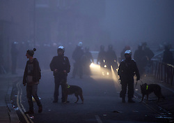 © Licensed to London News Pictures. 01/11/2015. London, UK. Police with riot dogs at The scene where Riot police clashed with party goers at the site of an illegal halloween rave in London where it has been reported that a petrol bomb was thrown. Photo credit: Ben Cawthra/LNP