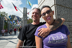 Karlee Provenza and Lloyd Ball of Greeley, CO visit Mt Rushmore National Monument during the 75th Annual Sturgis Black Hills Motorcycle Rally.  SD, USA.  August 8, 2015.  Photography ©2015 Michael Lichter.