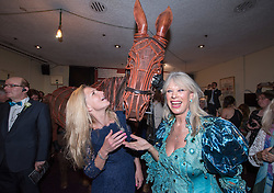 © Licensed to London News Pictures.29/05/2016. Bristol, UK.  Claire Trehearne and Annette Lynton-Mason pose with a puppet from War Horse at the Bristol Old Vic in King Street as the theatre celebrates its 250th birthday on 30 May 2016 as the oldest continuously working theatre in the English speaking world. Following a recent £12.5 million redevelopment project, the Bristol Old Vic is now one of the most modern and comfortable theatres with state of the art rehearsal rooms, a dramatically extended forestage and precision-engineered sightlines giving audiences an even more intimate theatrical experience. Photo credit : Simon Chapman/LNP