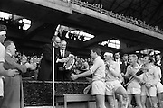 05/09/1965<br /> 09/05/1965<br /> 05 September 1965<br /> All Ireland Minor Hurling Final: Dublin v Limerick at Croke Park Dublin. The winning Dublin team being presented with the Irish Press Cup.