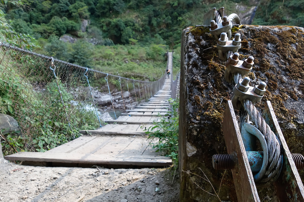 Cable anchor of a suspension bridge in the Manaslu region of Nepal.