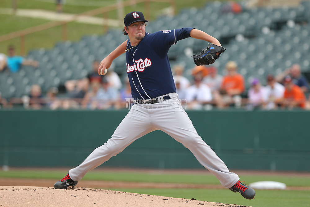 New Hampshire Fisher Cats pitcher Deck McGuire #13 delivers a pitch during a game against the Bowie Baysox at Prince George's Stadium on June 17, 2012 in Bowie, Maryland. New Hampshire defeated Bowie 4-3 in 13 innings. (Brace Hemmelgarn)