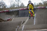 #127 (TREIMANIS Edzus) LAT at the 2018 UCI BMX Superscross World Cup in Saint-Quentin-En-Yvelines, France.