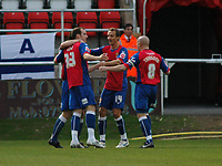 Photo: Tony Oudot/Richard Lane Photography. Dagenham & Redbridge v Rochdale. Coca-Cola Football League Two. 21/11/2009. <br /> Peter Gain of Dagenham is congratulated by team mates after opening the scoring