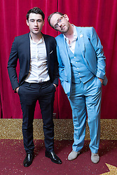 © Licensed to London News Pictures . 16/05/2015 .  The Palace Hotel , Manchester , UK . Joe Gill and Liam Fox . The red carpet at the 2015 British Soap Awards , The Palace Hotel , Oxford Road , Manchester . Photo credit : Joel Goodman/LNP