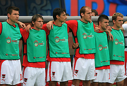 Austrian team listening to the national song before the UEFA EURO 2008 Group B soccer match between Austria and Croatia at Ernst-Happel Stadium, on June 8,2008, in Vienna, Austria.  (Photo by Vid Ponikvar / Sportal Images)