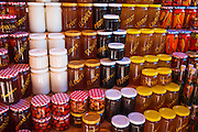 Honey and peppers at a fruit stand along the Dalmatian Coast, Croatia