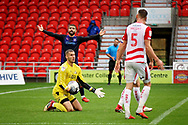 Doncaster Rovers goalkeeper Marko Marosi (13) wasting time during the EFL Sky Bet League 1 match between Doncaster Rovers and Luton Town at the Keepmoat Stadium, Doncaster, England on 8 September 2018.