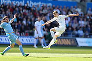 Tom Carroll of Swansea city scores his teams 2nd goal.  Premier league match, Swansea city v Stoke City at the Liberty Stadium in Swansea, South Wales on Saturday 22nd April 2017.<br /> pic by Andrew Orchard, Andrew Orchard sports photography.