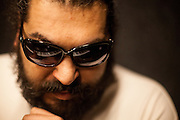 Mario Bihari during a break while working on his new solo album with the support of his band Bachtale Apsa in Prague.