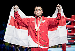 England's Peter McGrail with his gold medal during thw Men's Bantam (56kg) final at Oxenford Studios during day ten of the 2018 Commonwealth Games in the Gold Coast, Australia.