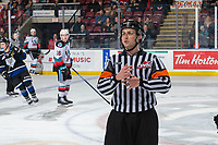 KELOWNA, BC - JANUARY 3: Referee Mark Pearce stands on the ice at the Kelowna Rockets against the Victoria Royals  at Prospera Place on January 3, 2020 in Kelowna, Canada. (Photo by Marissa Baecker/Shoot the Breeze)