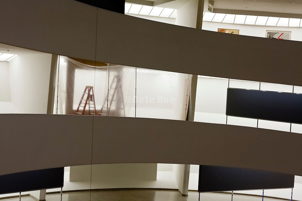 gallery ramp closed for installation of a new show at the Solomon R. Guggenheim Museum in New York
