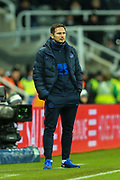 Chelsea manager Frank Lampard looks on from the side line during the Premier League match between Newcastle United and Chelsea at St. James's Park, Newcastle, England on 18 January 2020.