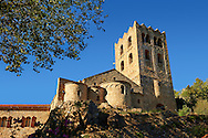 The First or Lombard Romanesque style Abbey of Saint Martin-du-Canigou in the Pyrenees, Orientales department, France. .<br /> <br /> Visit our MEDIEVAL PHOTO COLLECTIONS for more   photos  to download or buy as prints https://funkystock.photoshelter.com/gallery-collection/Medieval-Middle-Ages-Historic-Places-Arcaeological-Sites-Pictures-Images-of/C0000B5ZA54_WD0s