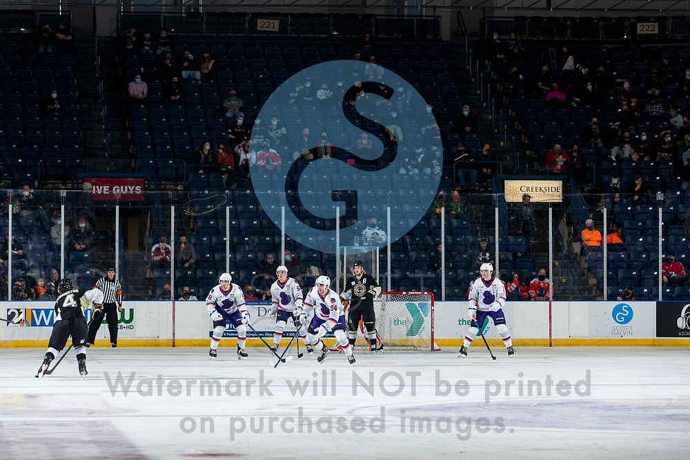 Youngstown Phantoms defeat the Muskegon Lumberjacks 4-3 in overtime at the Covelli Centre on December 5, 2020.<br /> <br /> Reilly Funk, forward, 94; Jack Malone, forward, 18; Bayard Hall, defenseman, 5; Mike Brown, defenseman, 2