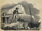 Fisherman hauling in his boat by means of a windlass. Engraving 1836.