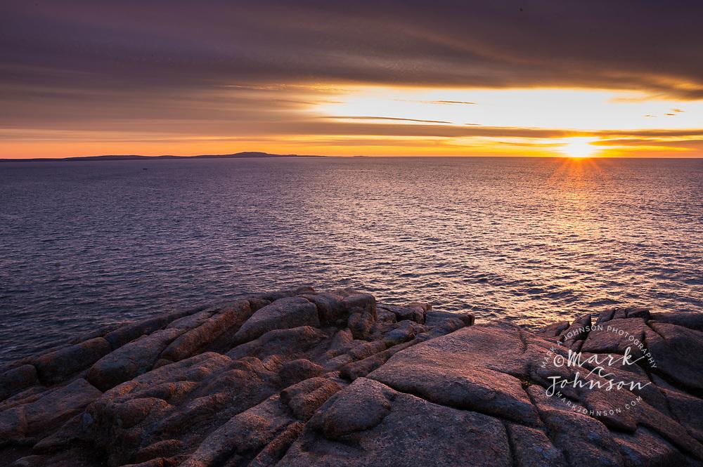 Sunrise, Otter Cliff, Acadia National Park, Maine, New England, USA