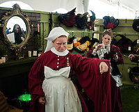 Hogwart's Nurse Madame Pomfrey, Piper Kirby and Chris Bee (reflected in mirror) at Misti-Con 2015 held at the Margate Resort on Saturday afternoon.  (Karen Bobotas/for the Laconia Daily Sun)