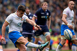 March 17, 2018 - Rome, Italy - Tommaso Allan of Italy during the NatWest 6 Nations Championship match between Italy and Scotland at Stadio Olimpico, Rome, Italy on 17 March 2018. (Credit Image: © Giuseppe Maffia/NurPhoto via ZUMA Press)