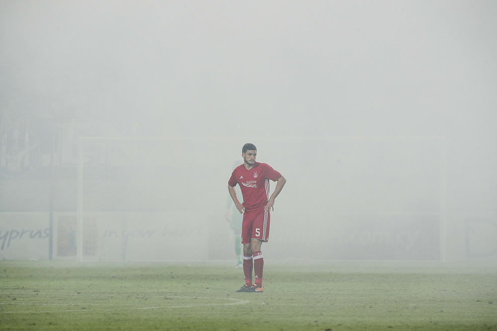 EUROPA CUP 3RD QUALIFYING ROUND APOLLON LIMASSOL V ABERDEEN PLAYED IN THE AEK ARENA, LARNACA, CYPRUS.<br /> PIC OF match stopped by Ref after flares go off<br /> PIC DEREK IRONSIDE / NEWSLINE MEDIA