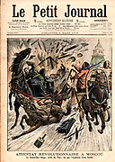 Grand Duke Sergei Alexandrovich of Russia (1857-1905), uncle of Nicholas II, assassinated in Moscow with a bomb thrown by the Revolutionary Ivan Kalayev.  From 'Le Petit Journal', 5 March 1905.