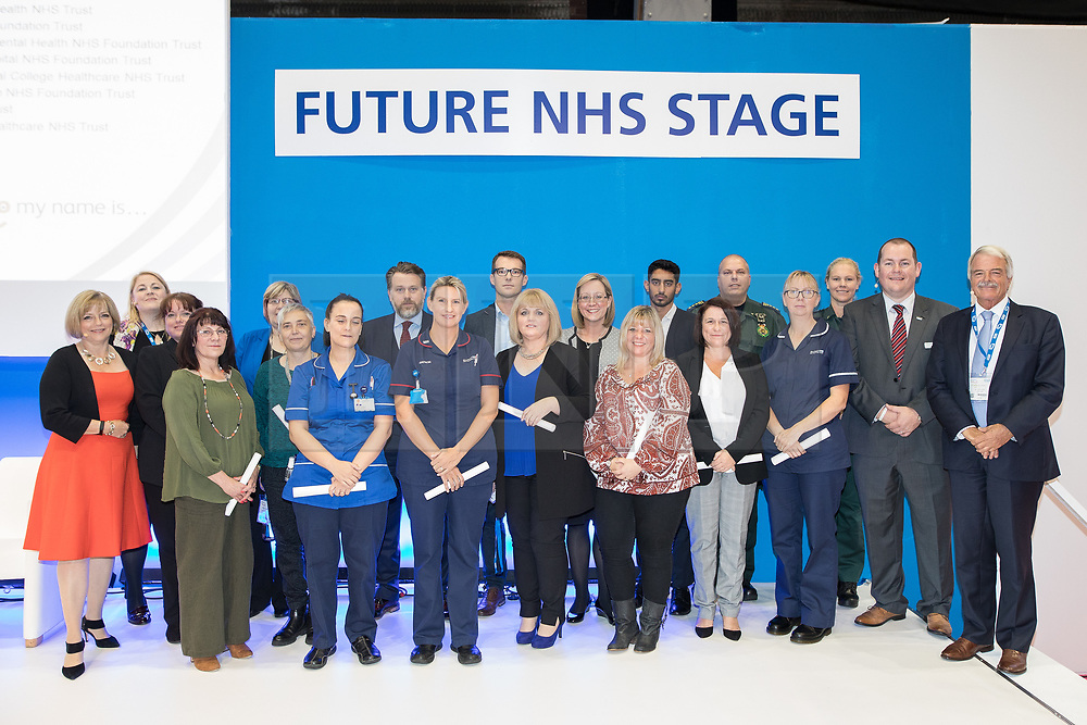 © Licensed to London News Pictures . 12/09/2017. Manchester , UK . NHS Staff from London and Manchester who provided medical care for the victims of terrorist attacks at the Manchester Arena , Westminster Bridge , London Bridge and in the Grenfell Fire are given a Special Recognition Award at the Health and Care Innovation Expo at Manchester Central Convention Centre . The Award , set up to recognise outstanding care for patients , was set up in memory of Kate Granger , the terminally ill doctor who worked to raise awareness around compassion in the NHS before she died . Photo credit: Joel Goodman/LNP