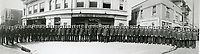 1924 Policemen lined up in front of the Hollywood Police station on the west side of Cahuenga Ave., just south of Hollywood Blvd.