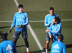 February 8, 2019 - Madrid, Spain - Real Madrid's Brazilian defender Marcelo (R) laughs with Real Madrid's Belgian goalkeeper Thibaut Courtois (L) a training session at the club's training ground in the outskirts of Madrid on February 8, 2019 Before The Liga match against Atletico Madrid. (Credit Image: © Raddad Jebarah/NurPhoto via ZUMA Press)