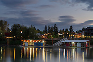 Evening at the Fort Langley Rowing Club in Fort Langley, British Columbia, Canada.  Photographed from Brae Island.