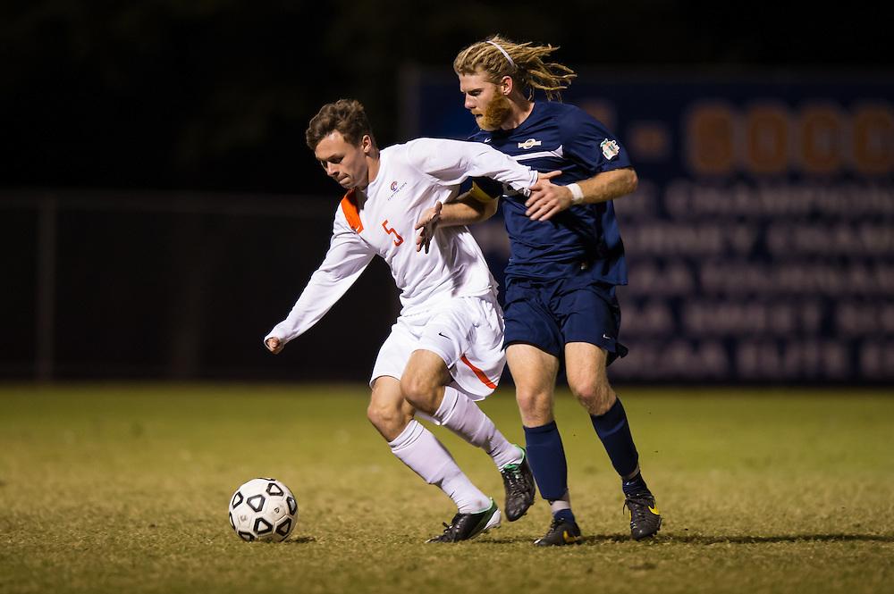 Oct 23, 2013; Morrow, GA, USA; Clayton State men's soccer player Samuel Barnsley against Georgia Southwestern at CSU. CSU won 3-2. Photo by Kevin Liles/kevindliles.com