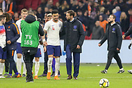 England Manager Gareth Southgate congratulates England defender Kyle Walker at the end of the match during the Friendly match between Netherlands and England at the Amsterdam Arena, Amsterdam, Netherlands on 23 March 2018. Picture by Phil Duncan.