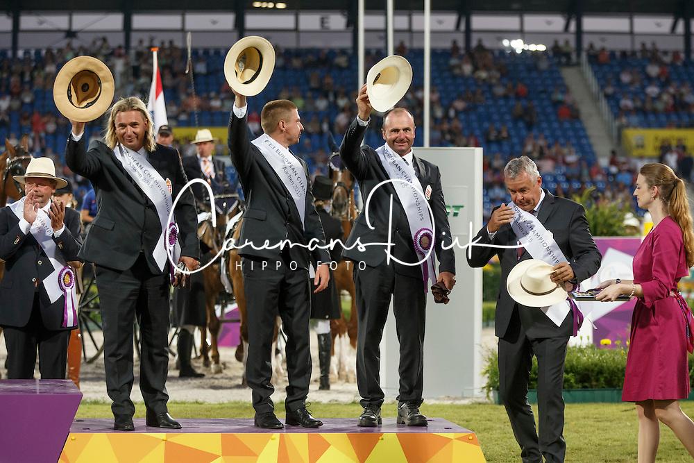 Bronze medal, Team Hungary, Dobrovitz Jozsef Jr, Lazar Zoltan, Dobrovitz Jozsef <br /> Marathon Driving Competition<br /> FEI European Championships - Aachen 2015<br /> © Hippo Foto - Dirk Caremans<br /> 22/08/15