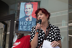 London, UK. 20th July, 2021. Tina Werkmann, vice-chair of Labour Against the Witchhunt, addresses supporters of left-wing Labour Party groups at a protest lobby outside the party's headquarters. The lobby was organised to coincide with a Labour Party National Executive Committee meeting during which it was asked to proscribe four organisations, Resist, Labour Against the Witchhunt, Labour In Exile and Socialist Appeal, members of which could then be automatically expelled from the Labour Party.