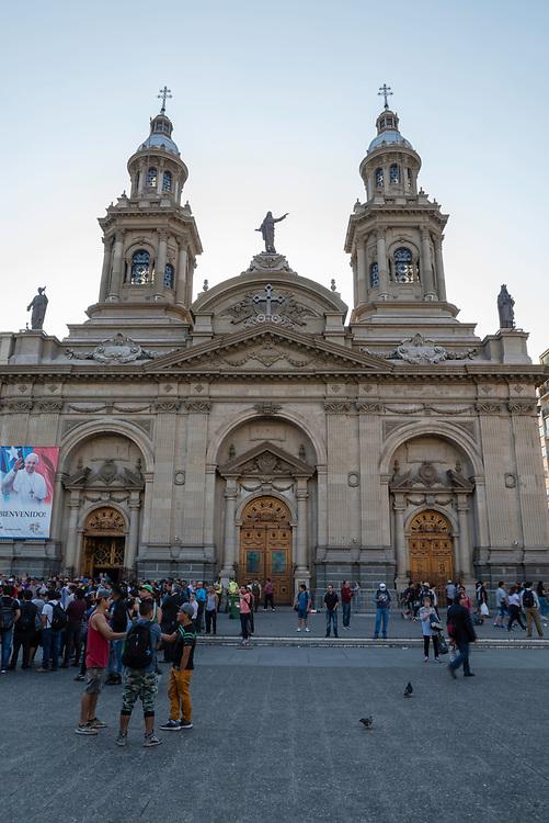 Vew of the Catedral Metropolitano de Santiago/Metropolitan Cathedral of Santiago Plaza de Armas, Santiago, Chile.