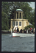 """Henley on Thames. United Kingdom. Umpire and Regatta Chairmen, Peter CONI in the launch """"Amaryllis"""", 1990 Henley Royal Regatta, Henley Reach, River Thames. 06/07.1990<br /> <br /> [Mandatory Credit; Peter SPURRIER/Intersport Images] 1990 Henley Royal Regatta. Henley. UK"""