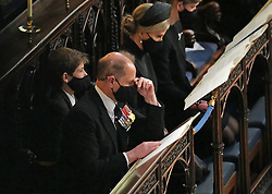 (left to right) James Viscount Severn, the Earl of Wessex and The Countess of Wessex during the funeral of the Duke of Edinburgh in St George's Chapel, Windsor Castle, Berkshire. Picture date: Saturday April 17, 2021.