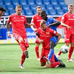 v.l. Christopher Trimmel (Union Berlin), Robert Andrich (Union Berlin), Marvin Friedrich (Union Berlin), Ihlas Bebou (Hoffenheim), Grisha Proemel (Union Berlin).<br /> <br /> Sport: Fussball: 1. Bundesliga: Saison 19/20: 33. Spieltag: TSG 1899 Hoffenheim - 1. FC Union Berlin, 20.06.2020<br /> <br /> Foto: Markus Gilliar/GES/POOL/PIX-Sportfotos<br /> <br /> Foto © PIX-Sportfotos *** Foto ist honorarpflichtig! *** Auf Anfrage in hoeherer Qualitaet/Aufloesung. Belegexemplar erbeten. Veroeffentlichung ausschliesslich fuer journalistisch-publizistische Zwecke. For editorial use only. DFL regulations prohibit any use of photographs as image sequences and/or quasi-video.