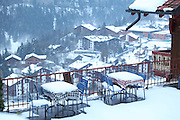 Switzerland, Canton Valais, Champoussin, snow covered village