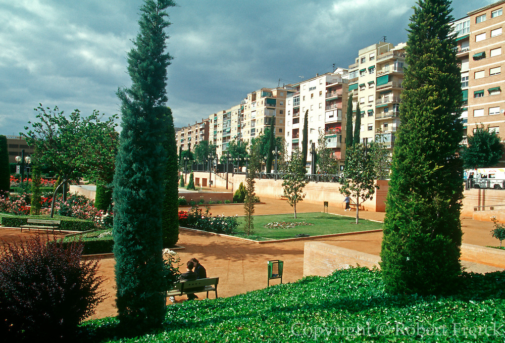 SPAIN, ANDALUSIA, GRANADA apartment buildings overlooking the Parque Federico Garcia Lorca, named after one of Spain's most famous writers