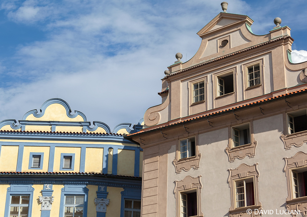 Ornated facades near the Old Town Square.