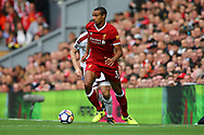 Joel Matip of Liverpool in action. Premier League match, Liverpool v Burnley at the Anfield stadium in Liverpool, Merseyside on Saturday 16th September 2017.<br /> pic by Chris Stading, Andrew Orchard sports photography.