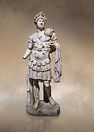 Roman statue of Emperor Hadrian. Marble. Perge. 2nd century AD. Inv no 3730-3728. Antalya Archaeology Museum; Turkey. Against a warm art background. .<br /> <br /> If you prefer to buy from our ALAMY STOCK LIBRARY page at https://www.alamy.com/portfolio/paul-williams-funkystock/greco-roman-sculptures.html . Type -    Antalya     - into LOWER SEARCH WITHIN GALLERY box - Refine search by adding a subject, place, background colour, museum etc.<br /> <br /> Visit our ROMAN WORLD PHOTO COLLECTIONS for more photos to download or buy as wall art prints https://funkystock.photoshelter.com/gallery-collection/The-Romans-Art-Artefacts-Antiquities-Historic-Sites-Pictures-Images/C0000r2uLJJo9_s0